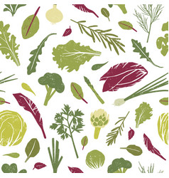 Seamless pattern with green plants tasty vector