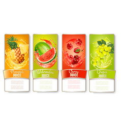 Set of labels of of fruit in juice splashes vector