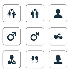Set of simple couple icons vector