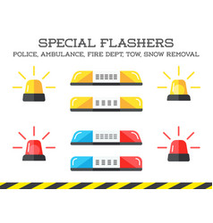 set of special flashers of emergency dept vector image