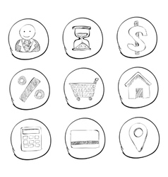 Shop icons set hand drawn style vector