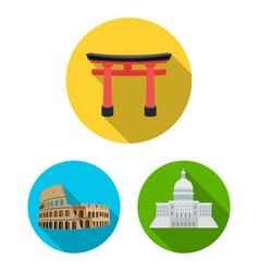 Sights of different countries flat icons in set vector