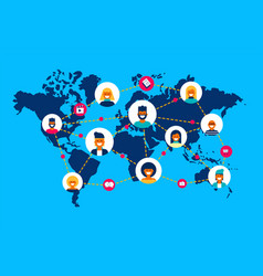 Social network world map people team connection vector