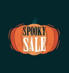 Spooky halloween tittle on a pumpkin vector