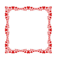 square frame with a luxury pattern hearts vector image