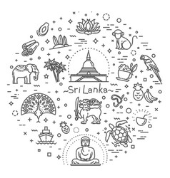 sri lanka vacation icons set icons vector image