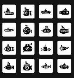 submarine icons set simple style vector image