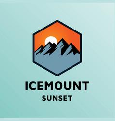 sunset sunrise ice mountain hill outdoor adventure vector image