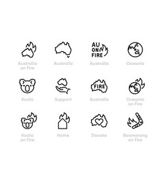 Support australia on fire icons donate vector