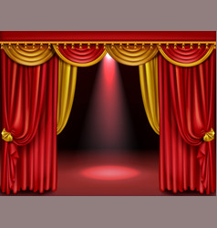 theater stage with red and gold curtains vector image