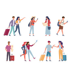 tourists seasonal recreation travelling people vector image