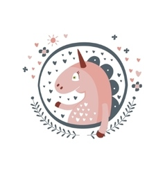 Unicorn Fairy Tale Character Girly Sticker In vector