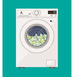 Washing machine full of dollars banknotes vector