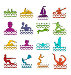 water sport icons doodle set vector image