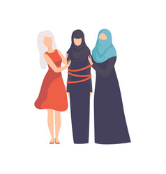 Women supporting tied muslim woman in rational vector