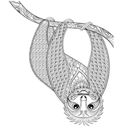 Zentangle sloth print for adult coloring vector