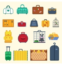 Bag set Icon isolated travel flat style vector image vector image
