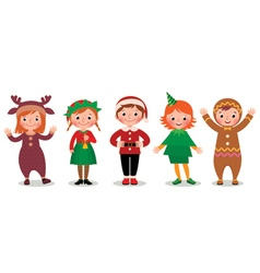 Group of children in costumes Christmas vector image vector image