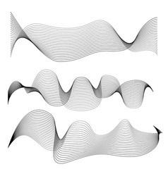 set of abstract smooth lines isolated on white vector image