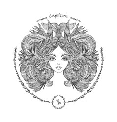 zodiac sign portrait of a woman capricorn vector image