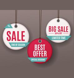 3d price sale label tags set vector image