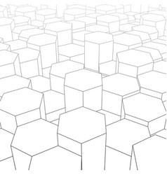 abstract digital landscape with hexagons on vector image