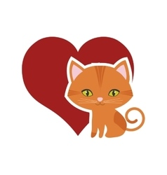 cat feline curious small red heart vector image