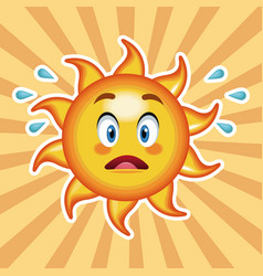 Character sun surprise with striped background vector