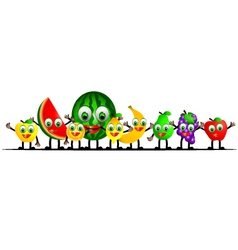 funny fruits cartoon collection vector image vector image