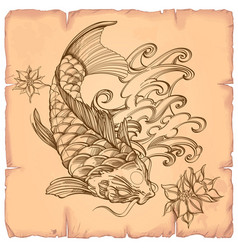 hand drawn outline koi fish with wave and flover vector image