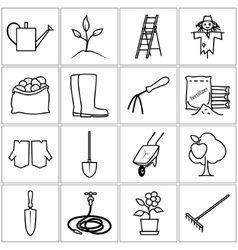 Line Icons Gardening Equipment vector image vector image