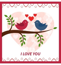 Lovers and happy birds on tree with hearts vector image