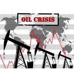 Oil crisis graph vector image vector image