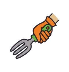 Rake hand garden gardening tool icon vector image vector image