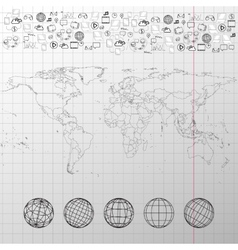 World map with world globes and other elements vector image