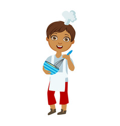 boy mixing sauce in bowl with whip cute kid in vector image vector image