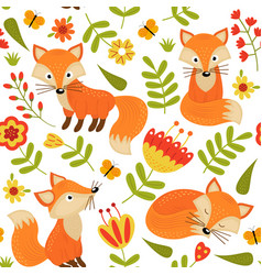 seamless pattern with fox in flowers vector image vector image