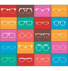 Set of glasses colorful icons vector image