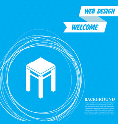 stool icons on a blue background with abstract vector image