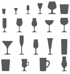 alcohol glasses silhouette set vector image