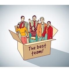 Best business team group people in box vector