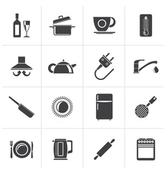 Black kitchen objects and accessories icons vector image vector image