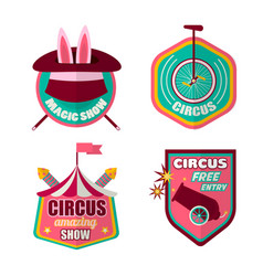 Circus icons set of clown magic hat and vector