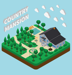 Country mansion isometric composition vector