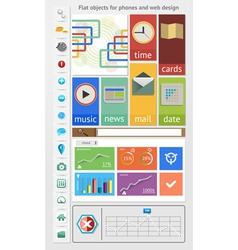 Flat objects for phones and web design vector image