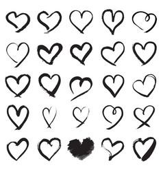 Hand painted heart symbols vector