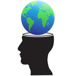 human head with globe vector image vector image
