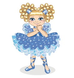 Little girl in a brilliant dress on a white vector image vector image