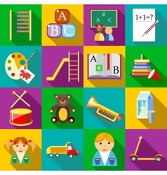 Preschool icons set flat style vector image