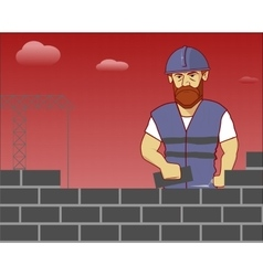 strong builder in overalls and helmet vector image vector image
